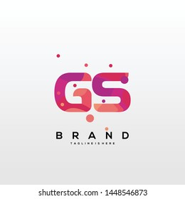 Initial letter GS logo with colorful background, letter combination logo design for creative industry, web, business and company. - Vector