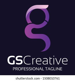 Initial letter GS logo with colorful circle background, letter GS logo design for creative, web, business and corporate. - Vector