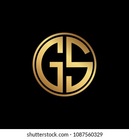 Initial letter GS, minimalist art monogram circle shape logo, gold color on black background