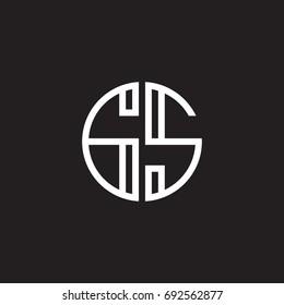 Initial letter GS, minimalist line art monogram circle shape logo, white color on black background
