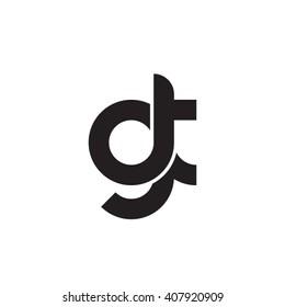 initial letter gt linked circle lowercase monogram logo black