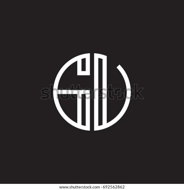 Initial letter GU, GV, minimalist line art monogram circle shape logo, white color on black background