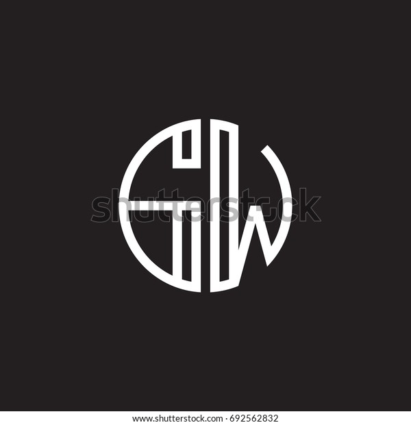 Initial letter GW, minimalist line art monogram circle shape logo, white color on black background