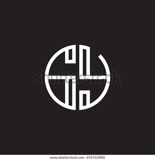 Initial letter GY, minimalist line art monogram circle shape logo, white color on black background
