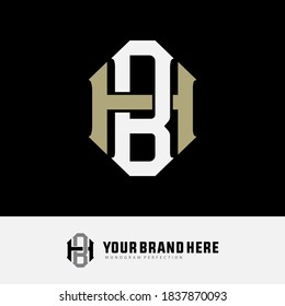 Initial letter H, B, HB or BH overlapping, interlock, monogram logo, white and cream color on black background