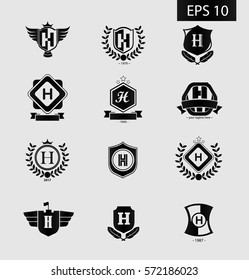 Initial Letter H Black Logo with Shield Icon Set