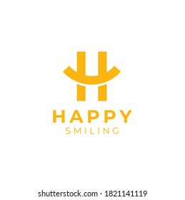 Initial Letter H Happy with curve like smile or smiley symbol logo design