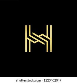 Initial letter H HH minimalist art logo, gold color on black background.