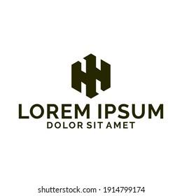 Initial letter H, HH, WM or MW logo template with geometric hexagonal line art illustration in flat design monogram symbol