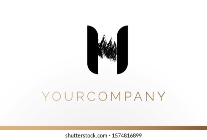 Initial Letter H Logo Design Template Element. With Brush Paint Stroke