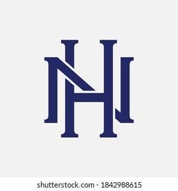 Initial letter H, N, HN or NH overlapping, interlock, monogram logo, blue color on white background