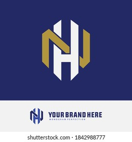 Initial letter H, N, HN or NH overlapping, interlock, monogram logo, gold and white color on blue background