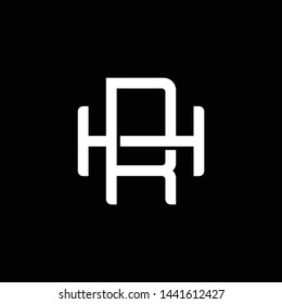 Initial letter H and R, HR, RH, overlapping interlock monogram logo, white color on black background