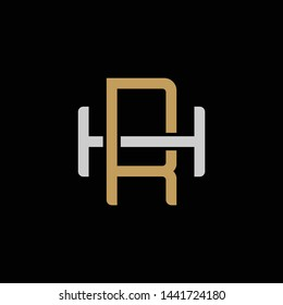 Initial letter H and R, HR, RH, overlapping interlock logo, monogram line art style, silver gold on black background