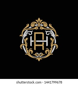 Initial letter H and R, HR, RH, decorative ornament emblem badge, overlapping monogram logo, elegant luxury silver gold color on black background
