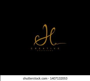 Initial Letter H Script Gold Color Signature Logotype