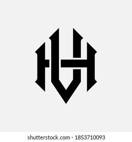Initial letter H, V, HV or VH overlapping, interlock, monogram logo, black color on white background
