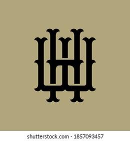 Initial letter H, W, WH or HW overlapping, interlock, monogram logo, black color on cream background
