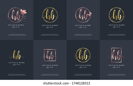 initial letter HB H B handwriting logo set design template with bird, butterfly, circular, square, rectangular on feminine style.