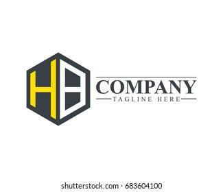 Initial Letter HB Hexagonal Design Logo
