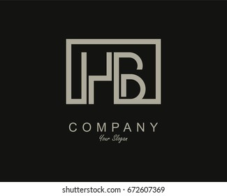 Initial Letter HB Linked Logo With Box
