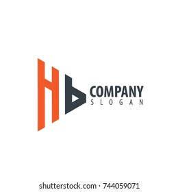 Initial Letter HB Linked Triangle Design Logo