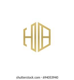 Initial letter HB, minimalist line art hexagon shape logo, gold color