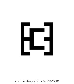 Initial Letter HC CH Black Logo With Letter C in the Middle of Letter H Icon