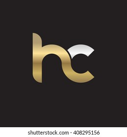 initial letter hc linked circle lowercase logo gold silver black background