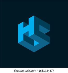 Initial letter HC logo template with modern geometric 3d cube illustration in flat design pictogram symbol