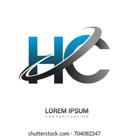 initial letter HC logotype company name colored blue and grey swoosh design. logo design for business and company identity.