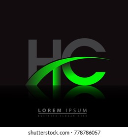 initial letter HC logotype company name colored green and black swoosh design. vector logo for business and company identity.