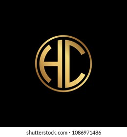 Initial letter HC, minimalist art monogram circle shape logo, gold color on black background