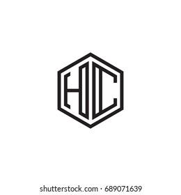 Initial letter HC, minimalist line art monogram hexagon logo, black color