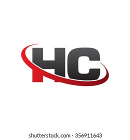 initial letter HC swoosh ring company logo red black