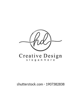 Initial letter HD calligraphy handwritten logo. Handwritten alphabet in the logo template. Letters and Alphabet for your logo design.
