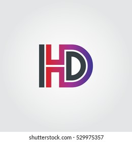 Initial Letter HD Linked Design Logo Black Purple