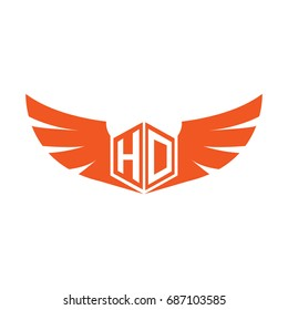 Initial Letter HD Logo, Hexagonal Shape with Wings Icon