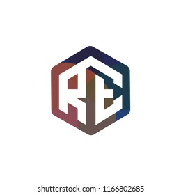 RE Initial letter hexagonal logo vector