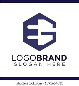 EG Initial Letter Hexagonal Logo Vector template