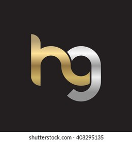 initial letter hg linked circle lowercase logo gold silver black background