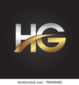 initial letter HG logotype company name colored gold and silver swoosh design. isolated on black background.