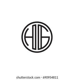 Initial letter HG, minimalist line art monogram circle logo, black color