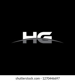 Initial letter HG overlapping movement swoosh horizon logo vector for logo company isolated in black background