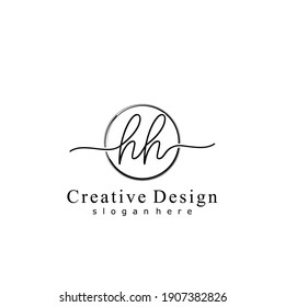 Initial letter HH calligraphy handwritten logo. Handwritten alphabet in the logo template. Letters and Alphabet for your logo design.