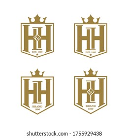 Initial letter HH logo design with shield and crown