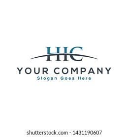 Initial letter HIC, overlapping movement swoosh horizon logo company design inspiration in blue and gray color vector