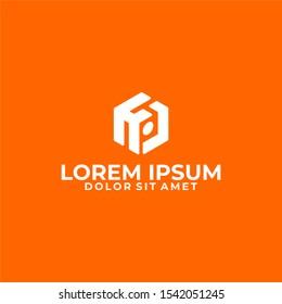 Initial letter HJ logo template with modern 3d cube symbol in flat design monogram illustration