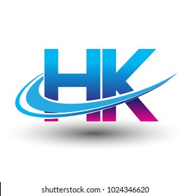 initial letter HK logotype company name colored blue and magenta swoosh design. vector logo for business and company identity.