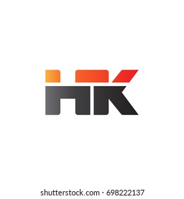 Initial letter HK, straight linked line bold logo, gradient fire red black colors